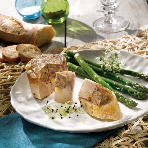 Le lot de 2 Terrines de Canard aux Asperges Vertes et au Foie de Canard (20% de Foie Gras de Canard) - 100 g - WFXL