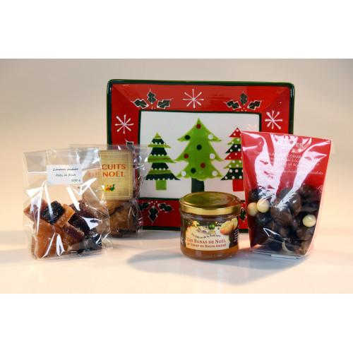 L'assortiment « Douceurs » 4 gourmandises et l'assiette «vide poche» décor Noël - WFV