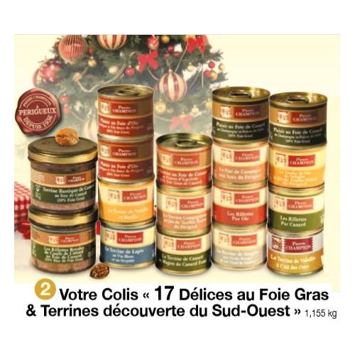 Votre Colis « 17 Délices au Foie Gras & Terrines découverte du Sud-Ouest » 1,155 kg WFU