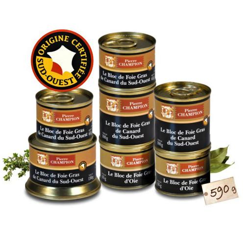 Votre Colis « 7 Blocs de Foie Gras d'Oie Origine France et de Canard du Sud-Ouest » 590 g - WFZ