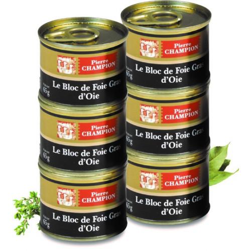 """Le Lot de 6 """"Le Colis de 6 Blocs de Foie Gras d'Oie"""" 390 g - WRA"""