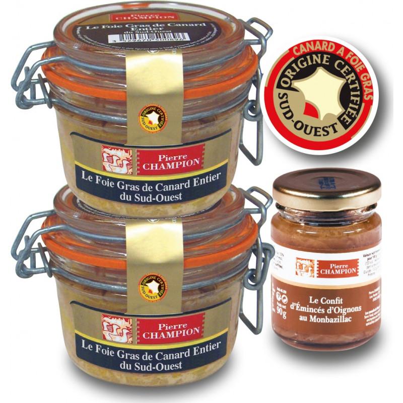 Les 2 Foies Gras de Canard Entier du Sud-Ouest, Recette à l'Ancienne + Le Confit d'Emincés d'Oignons au Monbazillac