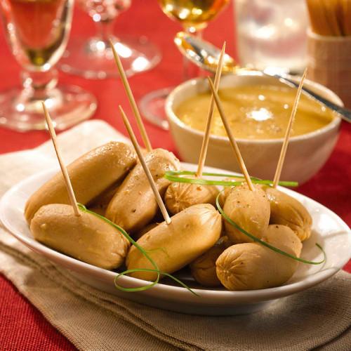 Les Petits Boudins Blancs au Sauternes en Sauce au Foie de Canard + Les Petites Saucisses Cocktail au Piment d'Espelette - PRINT
