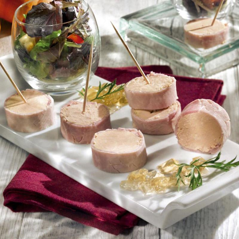 Les Flûteaux de Jambon Fourrés au Foie de Canard en Gelée