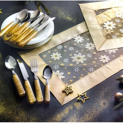Ce bel ensemble « Les Ors de Noël » composé d'un Chemin de Table et de sa ménagère assortie 12 pièces - WFQ