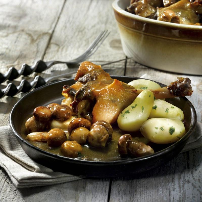 Le Canard cuisiné aux Cèpes